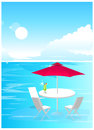 Beach umbrella and chairs on the sea Stock Photography