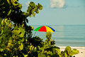 Beach umbrella a colorful on a tropical Royalty Free Stock Photo