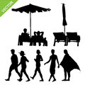 Beach umbrella and deck with peoples silhouette vector
