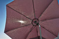 Beach umbrella parasol details of an open brown Stock Images