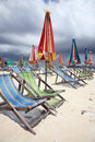 Beach umbrellas and chairs Royalty Free Stock Photos