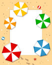 Beach umbrellas photo frame post card or page for your scrapbook subject a sand with colorful or parasols eps file available Stock Image