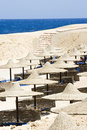 Beach umbrellas and sunbeds in Egypt Royalty Free Stock Photo