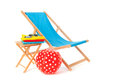 Beach vacation blue wooden chair for isolated over white background Stock Photo