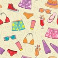 Beach vacation colorful seamless vector pattern. Summer holiday background Royalty Free Stock Photo