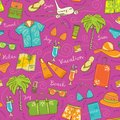 Beach vacation seamless vector pattern. Colorful summer travel background Royalty Free Stock Photo