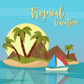 Beach Vacation Tropical Paradise. Exotic Island with Palm Trees Royalty Free Stock Photo