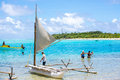 Beach in vanuatu mistery island cruise ship passangers having fun on the of the is totaly deserted with exception for when Royalty Free Stock Images
