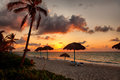 Beach varadero cuba at sunset Stock Photos