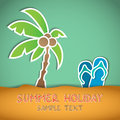 Beach vector illustration of with palm and flip flop Stock Images