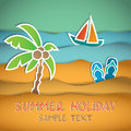Beach vector illustration of with palm flip flop and boat Stock Photo