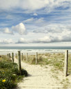 Beach view boardwalk leading to scenery Royalty Free Stock Images