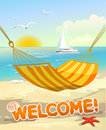Beach view from the hammock vector illustration Stock Photos