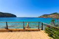 Beach view holiday apartment terrace camp de mar majorca island spain Royalty Free Stock Images