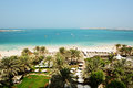 Beach with a view on Jumeirah Palm man-made island Royalty Free Stock Photo