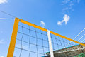 Beach volley net with a blue sky Stock Image