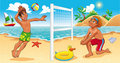 Beach Volley scene. Royalty Free Stock Image