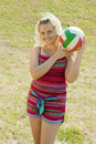 Beach volleyball female player Royalty Free Stock Photo