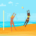 Beach volleyball. Group of young girls playing ball. Sport team. Summertime. Net. Palm tree. Royalty Free Stock Photo