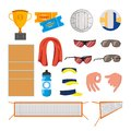 Beach Volleyball Icons Set Vector. Volleyball Accessories. Cup, Tickets, Ball, Glasses, Towel, Field, Water, Gestures