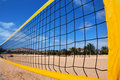 Beach volleyball net and beach