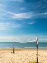 Beach volleyball net on the beach blue sky background Royalty Free Stock Image