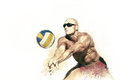 Beach volleyball player in action 1
