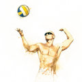 Beach volleyball player in action 3