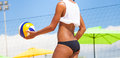 Beach volleyball player, playing summer. Woman with ball Royalty Free Stock Photo