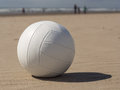 Beach volleyball white leather on sandy Royalty Free Stock Image