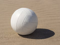 Beach volleyball white leather on sandy Royalty Free Stock Photography