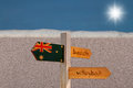 Beach volleyball wooden sign post on a sandy with a shining sun on the background australia volley concept Royalty Free Stock Photography