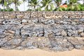 Beach wall construction step of Royalty Free Stock Photo