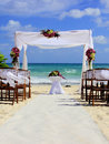 Beach wedding preparation on a sandy in mexico Stock Photography