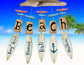 Beach wind chime on beach background Royalty Free Stock Images