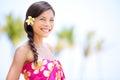 Beach woman smiling happy in sarong joyful bliss on travel vacation pretty mixed race asian caucasian on hawaiian Royalty Free Stock Images