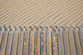 Beach wooden walkway and sand dunes texture Royalty Free Stock Photo
