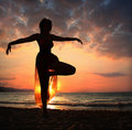 Beach yoga Royalty Free Stock Photos