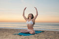 Beach Yoga Woman Royalty Free Stock Photos