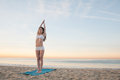 Beach Yoga Woman Royalty Free Stock Images