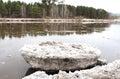 Beached river after an ice drift floe kahn kan near zelenogorsk krasnoyarsk territory Royalty Free Stock Photos