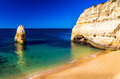 Beaches in the algarve high rocky coastline with portugal Stock Photography