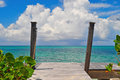 Beachfront Caribbean Pier Stock Photography