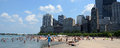 Beachgoers at ohio beach chicago july enjoying a sunny day in il july Royalty Free Stock Photo
