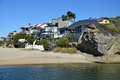 Beachside homes on Aliso Beach in South Laguna Beach, California. Royalty Free Stock Photo