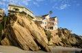 Beachside homes at Woods Cove Beach in Laguna Beach, California. Royalty Free Stock Photo
