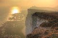 Beachy head uk england nature of the the strait of le mans the journey to misty landscape nature Stock Image