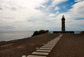 Beacon Capelinhos on the shore of Atlantic ocean, island Faial, Royalty Free Stock Photography