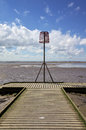 Beacon on a lifeboat jetty old style the end of at lytham st annes lancashire england Stock Photography