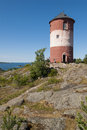 Beacon tower arholma swedish arholma bã k in northern stockholm archipelago sweden a fixed navigation mark built Royalty Free Stock Photography
